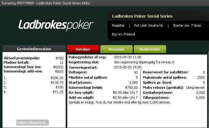 Photo of Social Series Freeroll €750 Added PLO H/L