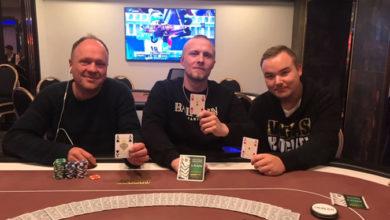 Tre af spillerne efter deal - Casino Aalborg