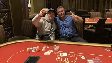 Photo of Jes Hansen og Lars Bentsen splitter HU, i $140 NLH på Aria