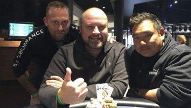Bagerst til venstre Jacob Grønkjær, forrest Claes Vinge, og til højre Mikkel Sørensen, Pokernyheder,